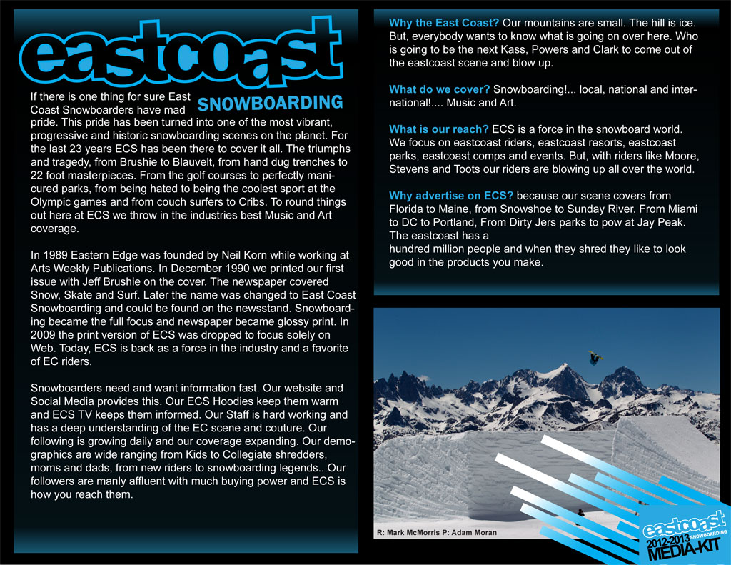 Eastcoast Snowboarding Media Kit Page 2 - LacossDesigns.com